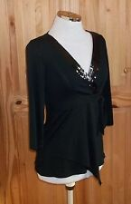 MARKS&SPENCER black stretch 3/4 sleeve crossover wrap sequin tunic top 8 36 BNWT
