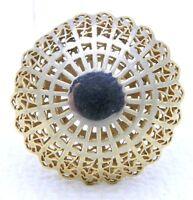 VTG 1930-40s CROWN TRIFARI Gold Tone Rare Dome Filigree Pin Brooch