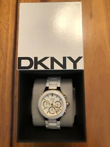 DKNY WHITE CERAMIC COLLECTION WOMEN'S WRIST WATCH WITH CHRONOGRAPH