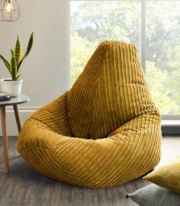 Jumbo Cord Beanbag Chair XL Large Bean Bag in Plush Jumbo Cord beanbags Highback
