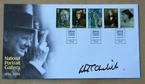 NATIONAL PORTRAIT GALLERY 2006 BUCKINGHAM FDC SIGNED BY WINSTON S CHURCHILL