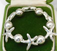 Silver Nautical Starfish Sea Star Ball Bead Stretch Bracelet 7a 67