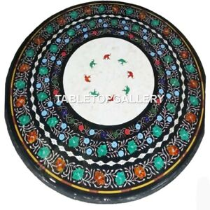 "36"" Marble Dining Table Top Malachite Carnelian Floral Inlay Living Decors B036"