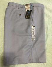 NEW Haggar Mens Performance Cool 18 Oxford Flat Front Shorts Light Blue Size 34W