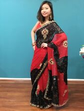 Bollywood Party Saree Indian Ethnic Designer Chiffon Sari Red Black Gold OS10