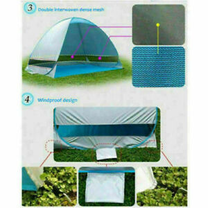 Pop Up Camping Tent Beach Portable Hiking Sun Shade Shelter for 2-3 People Blue