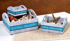 Wood Serving Trays Nesting Boxes Set of 3 Distressed Shabby Beach Nautical Aqua