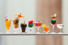 Dollhouse Miniatures Collection of Fruit Punch Martini Cocktail in Wine Glass
