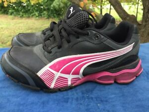 SALE @ PUMA Cat TAZON Black / Fuchsia Running Walking Leather Shoes Womens Sz 7