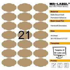 Mr-Label® Brown Scallop Oval Kraft Labels –Self Adhesive Stickers for