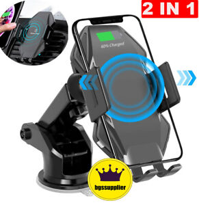 Auto Clamping Qi Wireless Fast Charger Car Holder Mount Suction Phone Charging
