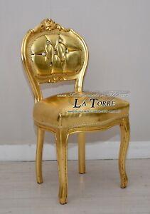 Sediolina luigi XV sedia musica legno massello foglia oro ecopelle oro k90