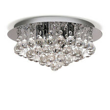 Modern Round 4-Light Ceiling Light Clear Genunie Crystal Droplet Chandelier