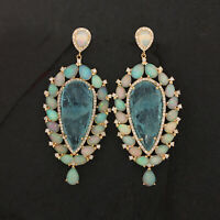Solid 14k Yellow Gold Opal Aquamarine Gemstone Dangle Earrings Diamond Pave New
