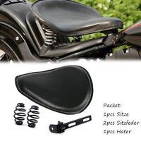 Schwarz Motorrad Einzelsitz Schwingsattel KIT mit Halter Sitzfedern für Harley