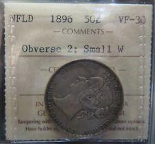 1896 Newfoundland 50 Cent ICCS VF30 Obv 2 Trends $400