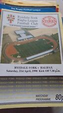 Ryedale York v Halifax programme 21.4.90