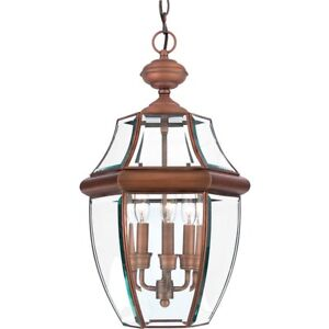Quoizel 3 Light Newbury Outdoor Pendant in Aged Copper - NY1179AC