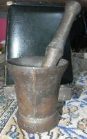 ANCIEN MORTIER EN FONTE 39/45 ARTISANAL GRAND PILON BEL SONORITE 3.1 KG