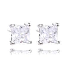 Fashion Rhinestone Crystal CZ Square Woman Ear Stud Earrings Weeding Jewelry