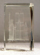 3D Laser Etched Crystal Block - New York Statue of Liberty, Twin Towers, Skyline