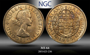 1965 NEW ZEALAND 1/2 CROWN NGC MS 64