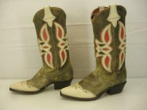 Womens 8 M Nine West Narda Vtg Cowboy Western Boot Cut-Out Inlay Brown Cream Red