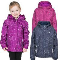 Trespass Vilma Girls Waterproof Jacket in Navy and Purple With Hood