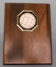 Volleyball plaque 6x8 solid walnut award trophy metal relief