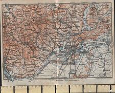 1925 GERMAN MAP ~ FRANKFURT ~ WIESBADEN OFFENBACH HOMBURG BERGEN