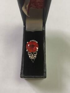 18ct White Gold Ring Set With Padparadscha Sapphire and Diamonds Size N TCW 2.48