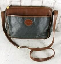 VTG Gucci Handbag Black Brown Logo Shoulder Crossbody Bag Classic Leather AUTH