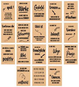 Set 18 Postkarten Leben & Momente mit schönen Sprüchen auf Kraftpapier (20836)