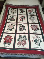 Goodwin Weavers Fringed Blanket/Throw Christmas/Winter Flowers 66 X 46