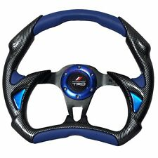 320mm Battle Style Steering Wheel Blue PVC Leather Carbon Fiber Racing TRD
