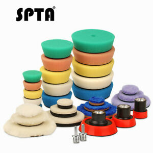 SPTA 32Pcs Detail Polishing Pads Buffing Pads Backing Pad Drill Adapter For Car