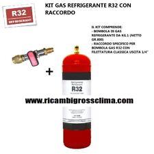 "KIT GAS REFRIGERANTE R32 BOMBOLA DA KG.1 - NETTO GR.800 CON RACCORDO SAE 1/4"""