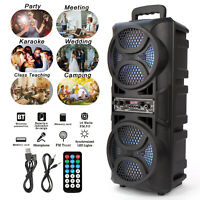 Portable Dual 6.5'' Wireless Bluetooth Speaker W/LED Light Stereo Loud Bass AUX