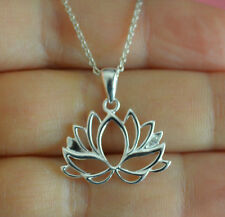 925 Sterling Silver Yoga Lotus Flower Blossom Charm Necklace w/ CZ *NEW*
