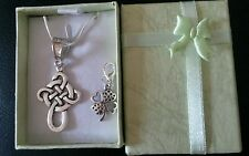 Celtic Cross 22 inch sterling silver necklace/Irish shamrock gift boxed