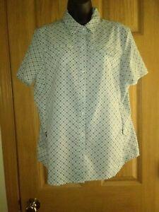 REI CO-OP S/S SAHARA Hiking/Active Shirt Gray/White/Green Print Sz L EUC!