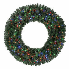 Home Heritage 60 Inch Prelit Holiday Christmas Wreath with 300 Color LED Lights