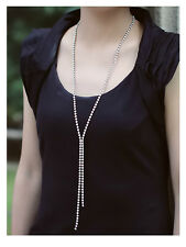 Made With Swarovski Crystals Rhodium Plated Tennis Long Chain Lariat Necklace