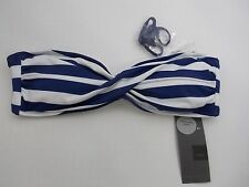 Mossimo Navy/White Stripes Bikini Swim Suit Bandeau Top Size S MSRP $17.99