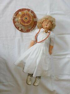 Frühe Puppe mit weißem Kleid und Brosche gemarkt JDK 201 3. !