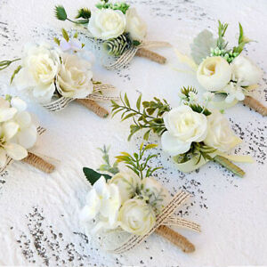 Artificial Rose Flower Groom Boutonniere Corsage Wedding Flower Suit Decor 95UK