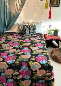 Indian Decorative Black Kantha Quilt Quilt Bedspread Coverlet Blanket Throw New