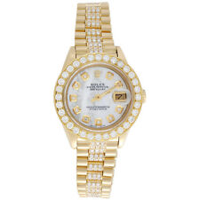 26 mm presidente de oro 18K Rolex Datejust 69178 frente Diamante Blanco MOP Reloj 3.70 CT