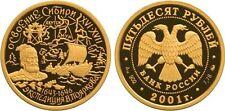 50 Rubel Russland PP 1/4 Oz Gold 2001 Development and Exploration of Siberia Pf