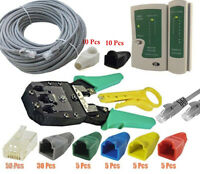 50M RJ45 Cat 5e Network LAN Cable Tester Crimping Tool Kit Boots End Connectors